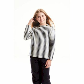 Craghoppers Girls Rosana Crew Neck - Blue Navy Stripe