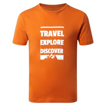 Craghoppers Diego Short-Sleeved T-Shirt - Terracotta Slogan Mountain