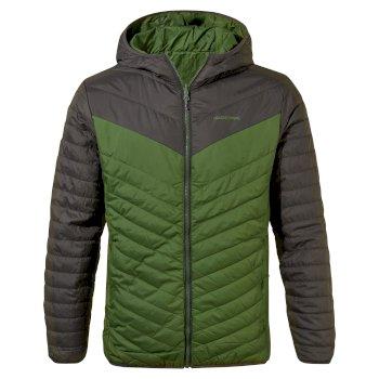 Craghoppers Compresslite V Hooded Jacket - Black Pepper / Dark Agave Green