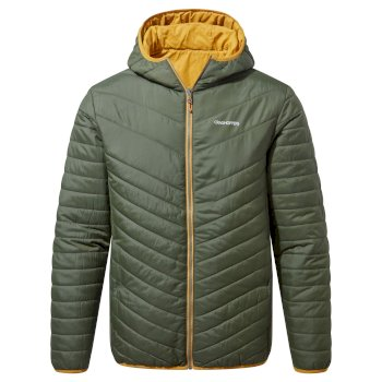 Craghoppers Compresslite V Hooded Jacket - Parka Green / Dark Butterscotch