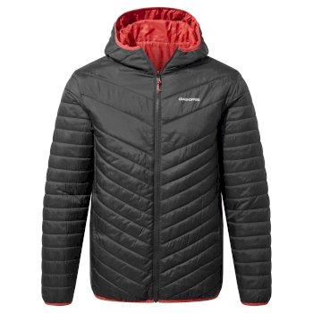 Craghoppers Compresslite V Hooded Jacket - Black / Pompeian Red