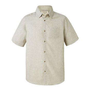 Craghoppers Evans Short Sleeved Shirt Olive Green Stripe