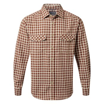 Craghoppers Kiwi Long-Sleeved Check Shirt Burnt Umber Check