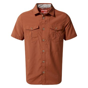 Craghoppers NosiLife Adventure II Short Sleeved Shirt  - Burnt Whisky