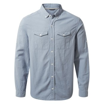 Craghoppers Kiwi Linen Long-Sleeved Shirt - Fogle Blue