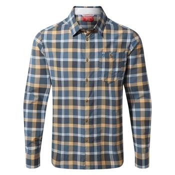 Craghoppers NosiLife Balbor Long Sleeved Shirt - Ocean Blue Check