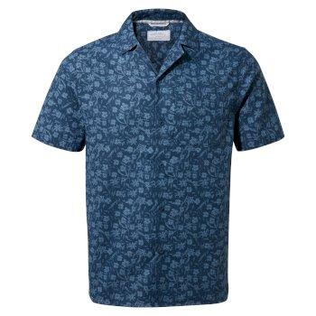 Craghoppers NosiBotanical Pasport Short Sleeved Shirt - Poseidon Blue Print