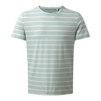 Craghoppers Bernard Short Sleeved T Shirt Light Bondi Blue Stripe