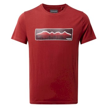 Craghoppers Railton Short Sleeved T-Shirt Mountain Reflection Red Earth