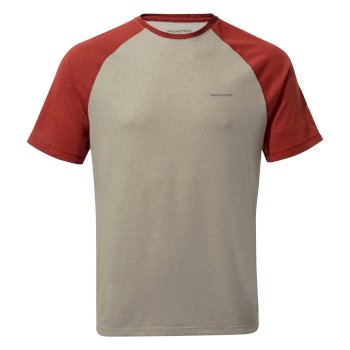 Craghoppers NosiLife Anello Short-Sleeved T-Shirt - Soft Grey Marl / Firth Red