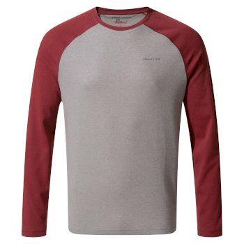 Craghoppers NosiLife Bayame II Long Sleeved T-Shirt - Soft Grey Marl / Firth Red