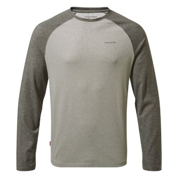 Craghoppers NosiLife Bayame II Long Sleeved T-Shirt - Black Pepper Marl / Soft Grey Marl