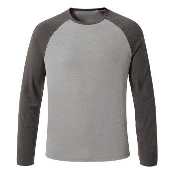 Craghoppers First Layer Long Sleeved T-Shirt Quarry Grey Marl / Black Pepper Marl