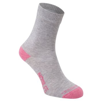 Craghoppers Womens NosiLife Twin Pack Socks Soft Grey Marl / English Rose Stripe