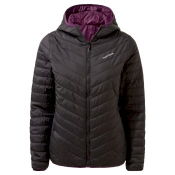 Craghoppers Compresslite V Hooded Jacket - Black / Potent Plum