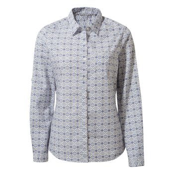 Craghoppers Kiwi II Long Sleeved Shirt - Galaxy Blue Print