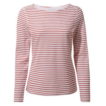 Craghoppers NosiLife Erin Long-Sleeved Top  - Fiesta Red Stripe