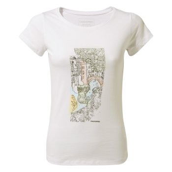 Craghoppers Cornelia Short-Sleeved Watercolour Landscape T-Shirt - Optic White