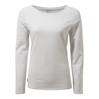 Craghoppers NosiLife Erin II Long-Sleeved Top  - Soft Grey Marl Stripe