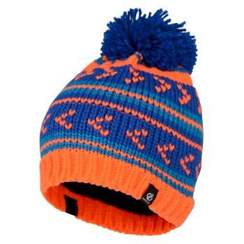 Plucky - Jungen Bommelmütze mit Streifenmuster Oxford Blue Vibrant Orange