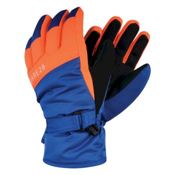 Boys' Mischievous Ski Gloves Oxford Blue Vibrant Orange