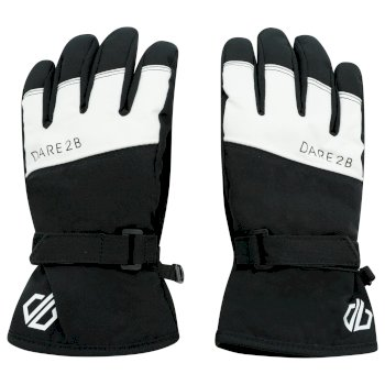 Dare 2b Boys' Unbeaten Waterproof Breathable Ski Gloves - Black White
