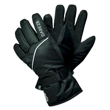 Dare 2b Boys' Mischievous II Water Repellent Ski Gloves - Black White