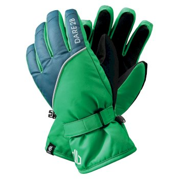 Dare 2b Boys' Mischievous II Water Repellent Ski Gloves - Vivid Green Dark Denim