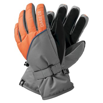 Dare 2b Boys' Mischievous II Water Repellent Ski Gloves - Aluminium Grey Blaze Orange