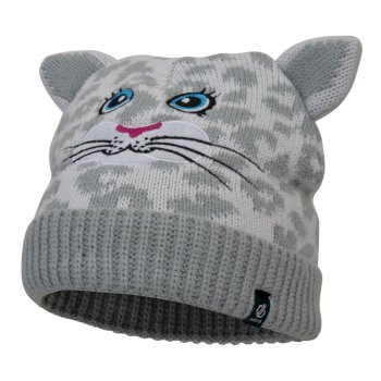 Dare2b Girls' Brainwave Animal Beanie - White Snow Leopard
