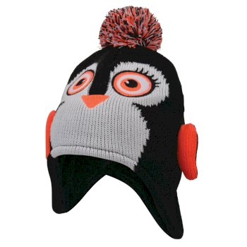 Brainwave - Mädchen Beanie-Mütze mit Tiermotiv - Schneeleopard Black Penguin