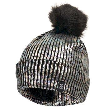 Convince - Mädchen Bommelmütze mit Metallic-Optik Black