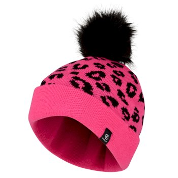 Dare2b Girls' Convince Metallic Bobble Hat - Cyber Pink