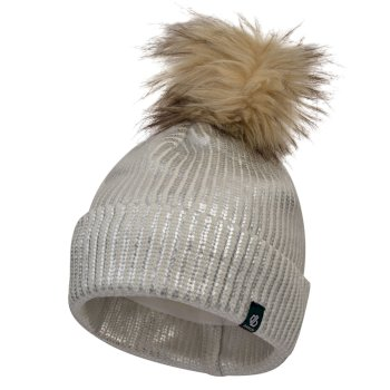 Dare2b Girls' Convince Metallic Bobble Hat - White