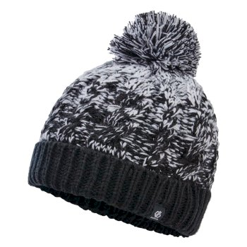 Dare 2b Girls' Lively II Fleece Lined Knit Bobble Beanie - Black White