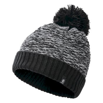 Dare 2b Girls' Hastily II Fleece Lined Knit Bobble Beanie - Black White