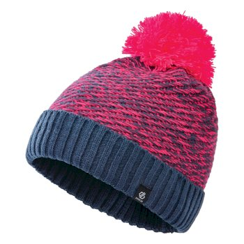 Dare 2b Girls' Hastily II Fleece Lined Knit Bobble Beanie - Dark Denim Neon Pink