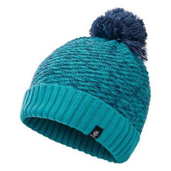 Dare 2b Girls' Hastily II Fleece Lined Knit Bobble Beanie - Ceramic Blue Dark Denim