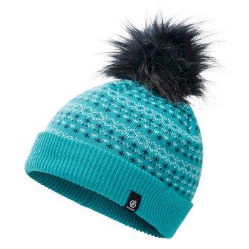 Dare 2b Girls' Homey Fleece Lined Knit Faux Fur Bobble Beanie - Ceramic Blue