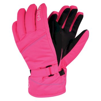 Dare 2b Girls' Impish Waterproof Insulated Ski Gloves - Neon Pink