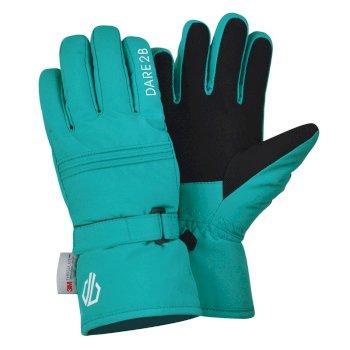 Dare 2b Girls' Liveliness Waterproof Breathable Ski Gloves - Ceramic Blue