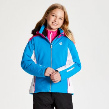 Vast - Mädchen Skijacke - Kunstfellbesatz & Kapuze Atlantic Blue Cyber Pink