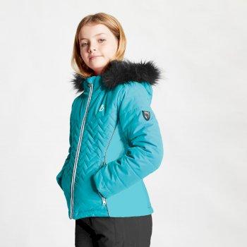Snowdrop wasserdichte Skijacke mit Kapuze mit Kunstpelzbesatz für Mädchen Blau