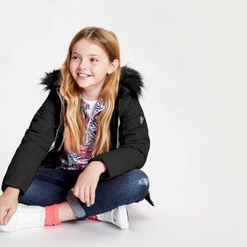 Snowdrop wasserdichte Skijacke mit Kapuze mit Kunstpelzbesatz für Mädchen Schwarz