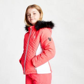 Snowdrop wasserdichte Skijacke mit Kapuze mit Kunstpelzbesatz für Mädchen Rosa