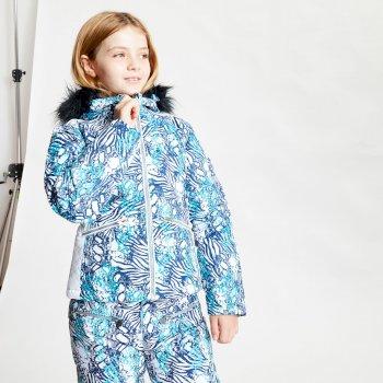 Far Out wasserdichte Skijacke mit Kapuze mit Kunstpelzbesatz für Mädchen Blau