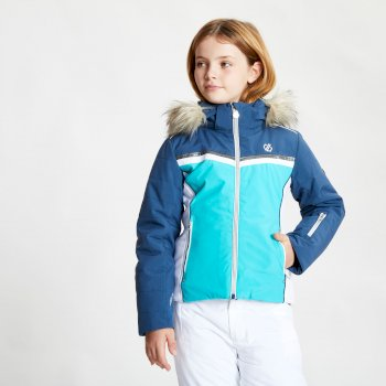 Estimate wasserdichte Skijacke mit Kapuze mit Kunstpelzbesatz für Mädchen Blau
