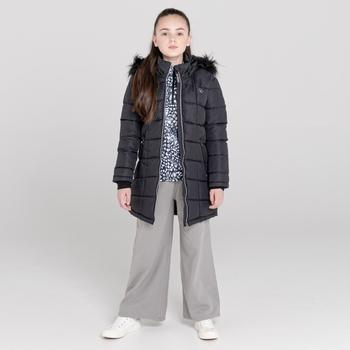 Striking wasserdichte, gesteppte Parka-Skijacke mit Kapuze mit Pelzbesatz für Mädchen Schwarz