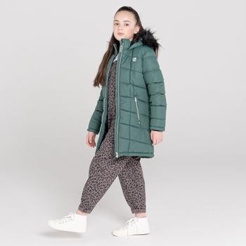 Striking wasserdichte, gesteppte Parka-Skijacke mit Kapuze mit Pelzbesatz für Mädchen Grau