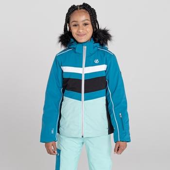 Belief wasserdichte, isolierte Skijacke mit Kapuze mit Pelzbesatz für Mädchen Blau